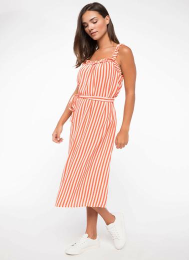 DeFacto Kusak Detaylı Çizgili Elbise Pembe